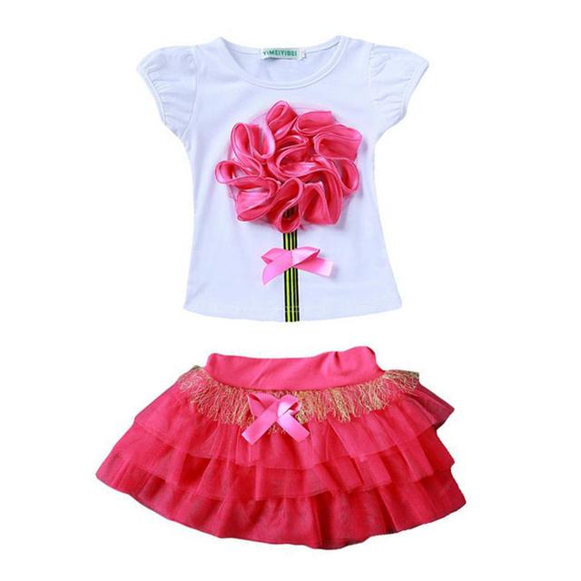 Elsa Traje Flores de Algodão Meninas cothing Set crianças vestidos para meninas Tutu conjunto saia + Camiseta fille 2 4 6 8 10 12 anos