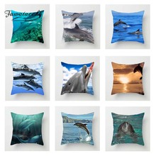 Fuwatacchi Animals Dolphin Cushion Cover For Sofa Home Decor Ocean World Pillow Car Room Decorative Pillowcase
