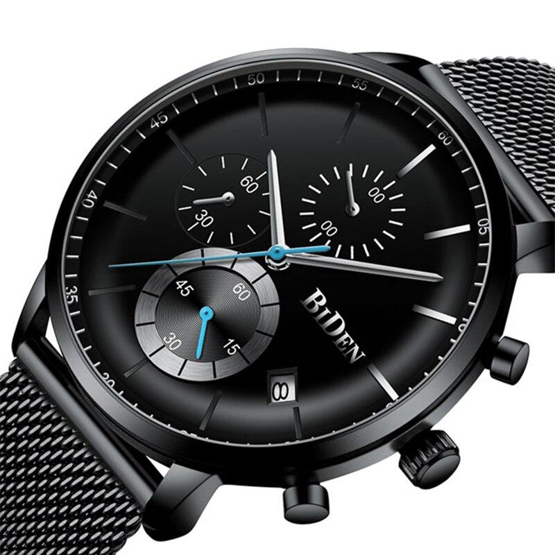 Montres pour hommes Top marque de luxe BIDEN hommes montres en acier montre à Quartz analogique courbe visage étanche Sports de plein décontracté
