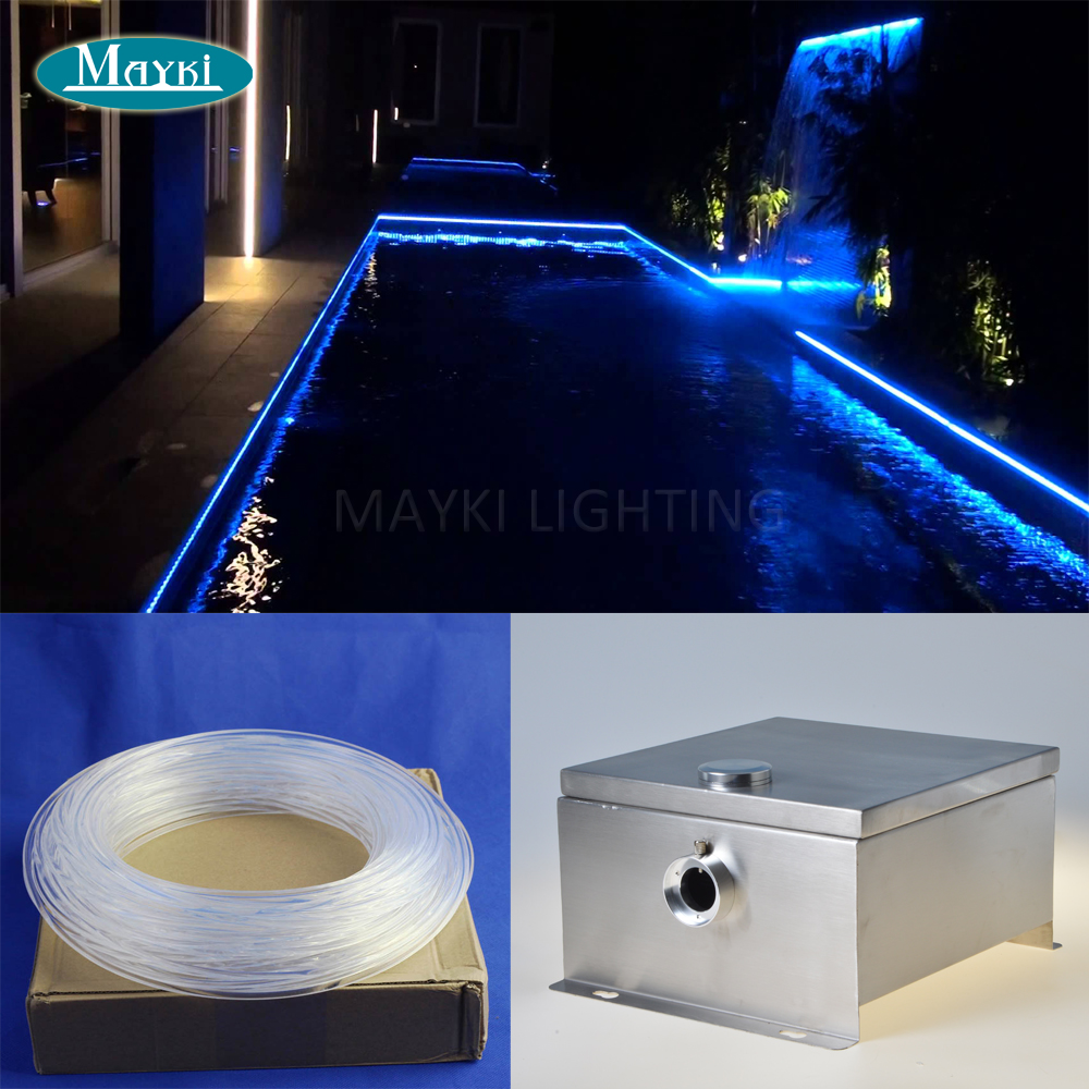 Maykit 20m Whole Glow Fibre Ip 43 DMX Multi Function Cree 80w LED Outdoor Fiber Optic Pond Light For Perimeter Emergency Light maykit swimming pool using fiber optic light with 80w led ip43 end emitted fibre optic tail for 20 sqm