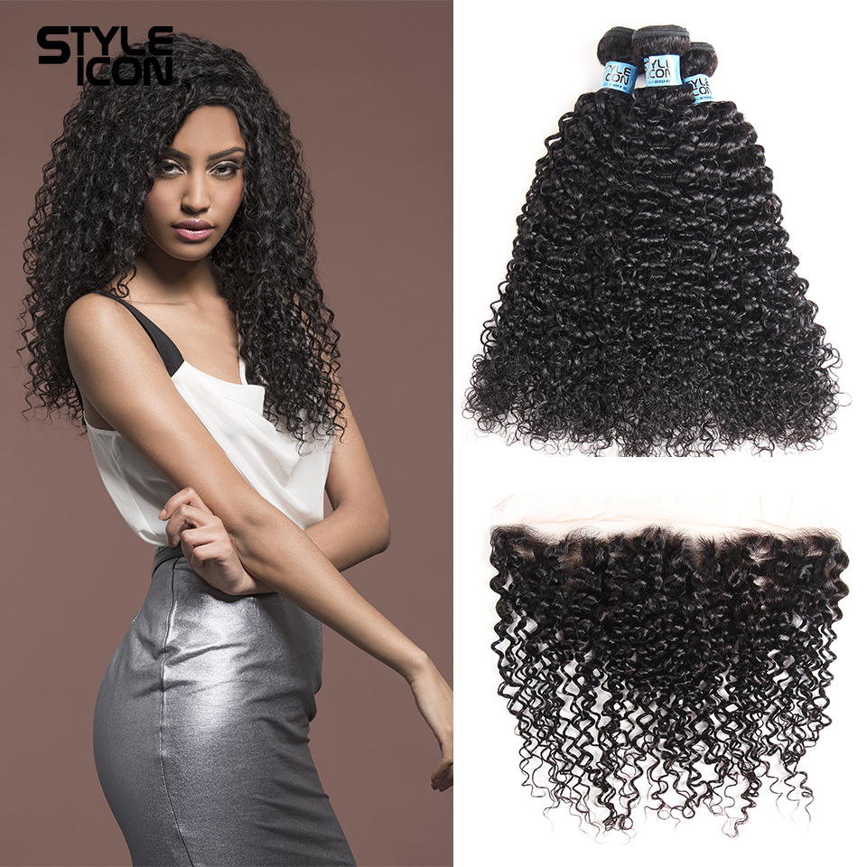 Styleicon Brazilian Kinky Curly Bundles With Closure Non Remy Hair Lace Frontal With Bundles Human Hair 3 Bundles With Frontal