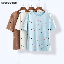 2019 Summer New Korean Natural Version of The Loose Printed Short-sleeved Round Neck Casual Large Size Womens T-shirt