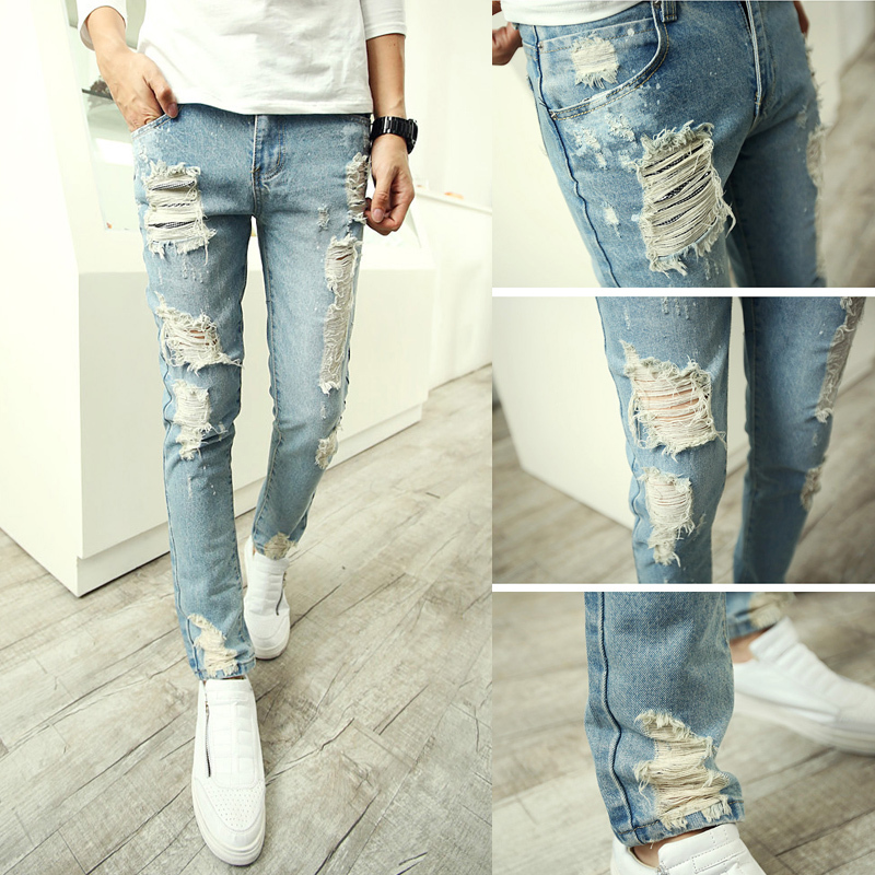Aliexpress.com : Buy mens skinny ripped jeans men european style