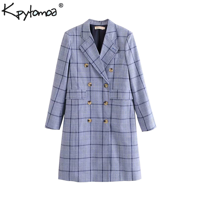 Vintage Chic Double Breasted Plaid Long   Trench   Coat Women 2018 Fashion Lapel Collar Long Sleeve Outerwear Casual Casaco Femme