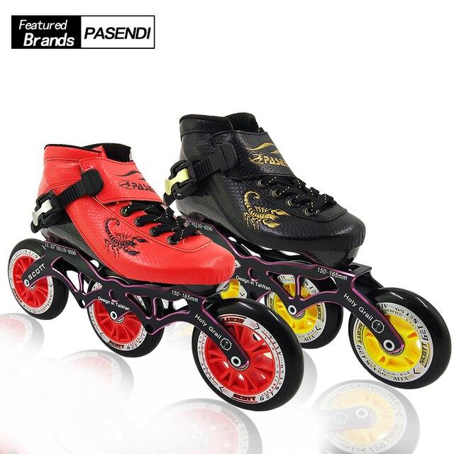 d59199643ea PASENDI Inline Skates Professionele Schaatsen Schoenen 3 wielen Rolschaatsen  Beginner Kinderen/Volwassenen Roller Skate Boot