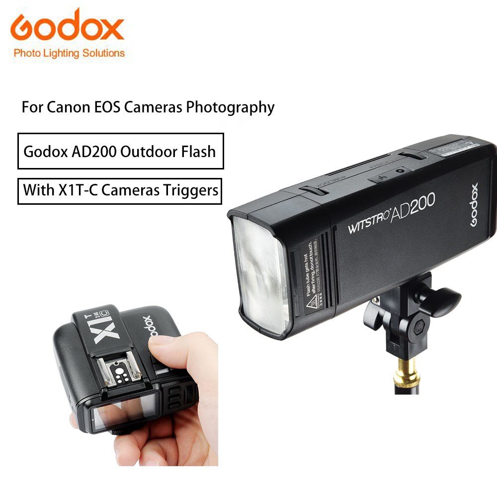 Godox AD200 Flashes Strobe TTL HSS Double Head 200Ws with Lithium Battery Speedlite Flash with X1t-C godox Triggers For Canon godox v860iic v860iin v860iis x1t c x1t n x1t s hss 1 8000s gn60 ttl flash speedlite 2 4g transmission godox softbox filter