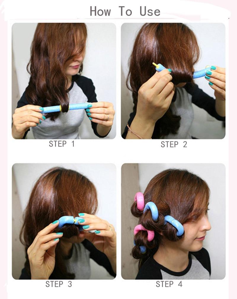 12Pcs/Lot Soft Foam Hair Curler Roller Bendy Rollers DIY Magic Sleeping Hair Curlers Styling Rollers Sponge Hair Curling Tool 5