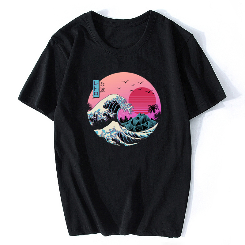 The Great Retro Wave Japan Anime   T  -  shirt   Harajuku Streetwear Cotton Camisetas Hombre Men Vaporwave Funny Cool   T     Shirt