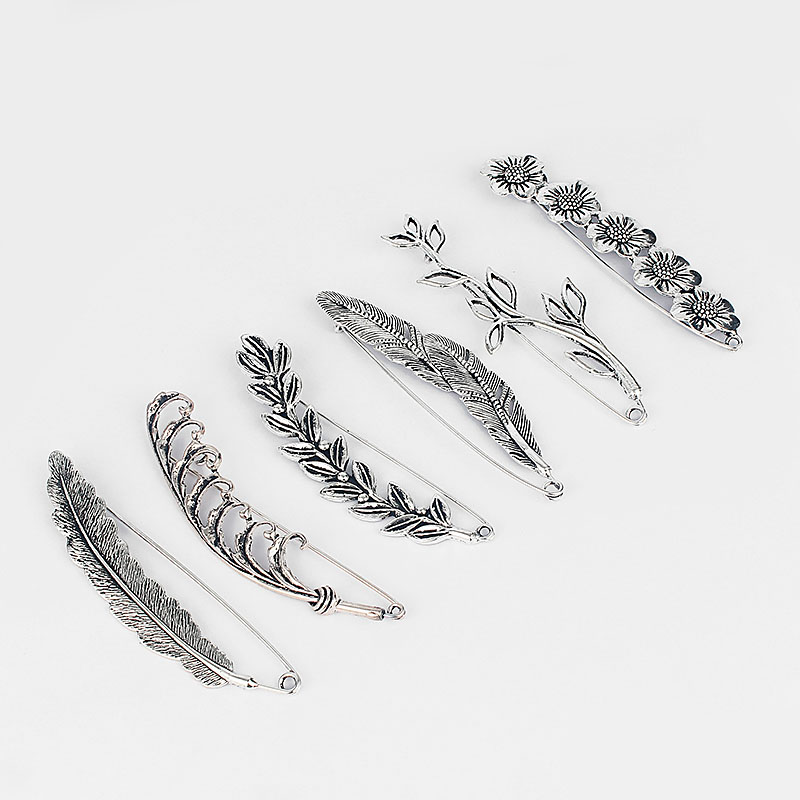 3pcs Large Antique Silver Leaves/Flower Brooch Durable Strong Metal Kilt Scarf Leaves Pin Brooch