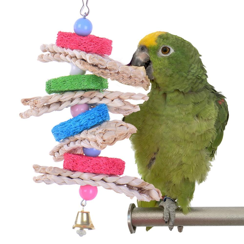 Ptičje igrače v kletkah Ptičje igrače Chew Loofah Straw Igrače - Izdelki za hišne ljubljenčke