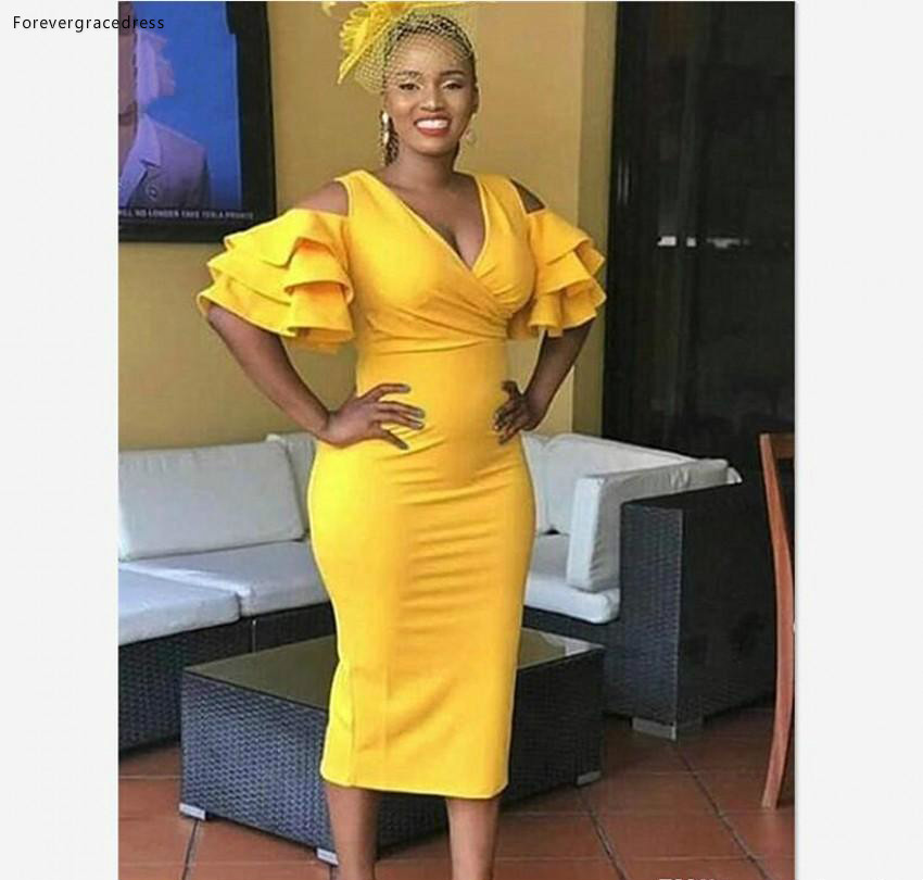 Tea Length Yellow   Cocktail     Dresses   2019 Sheath Short Sleeves Girls Graduation Homecoming Party Gowns Plus Size Custom Made