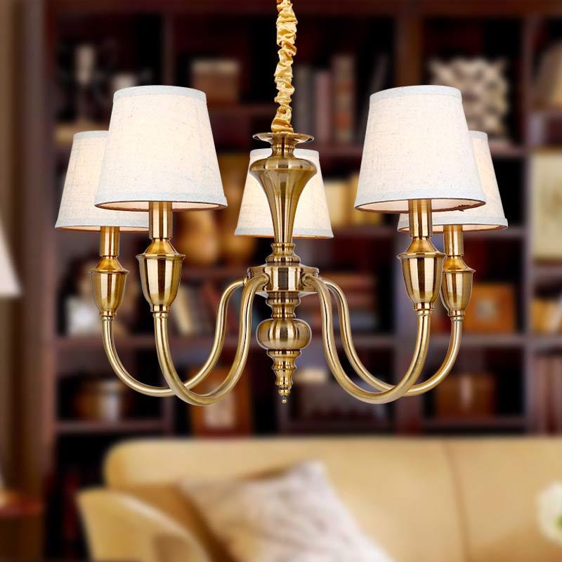 Vintage Leuchten Amerikanischer Kronleuchter Treppenhaus Esszimmer Wohnzimmer Lampe Anti Messing Eisen Weiss Stoff Lampenschirm E14