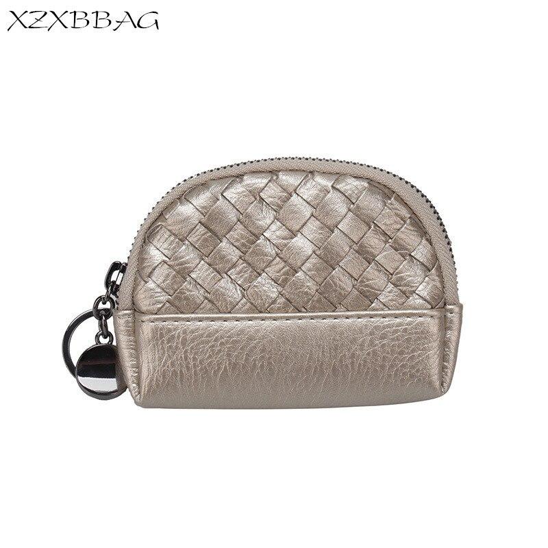 XZXBBAG Fashion Knitting PU Leather Coin Purse Women 2017 New Zipper Small Wallet Female Change Purse Money Bag Mini Zero wallet