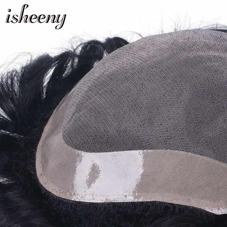 Isheeny 100% Remy человеческие волосы для мужчин s парик моно парик натуральный волос кружева Тонкий ПУ заменить мужчин t система Toupees мужчин волос парики