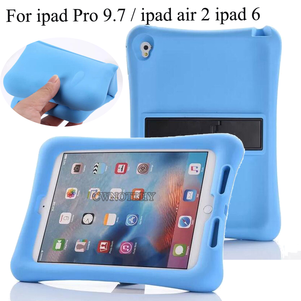 New For Apple iPad 9.7 2018 2017 Case Cover Silicon Kids Protective Baby Shock Proof Foam Stand For ipad pro 9.7 Air 1 Air 2+pen