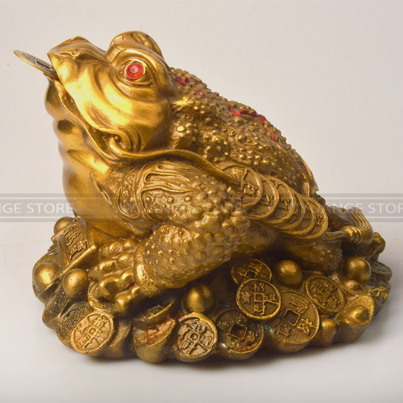 Chinese Feng Shui Three Legged Money for Frog Fortune Brass Toad Chinese Coin Metal Craft Home