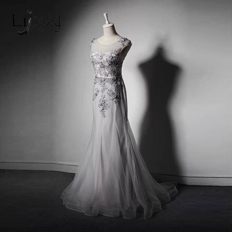 Элегантный Тюль Русалка мать невесты Платья для женщин стоящий Нежный Аппликации торжественное платье на серебряную свадьбу Vestido De Madrinha A205