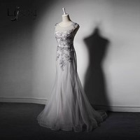 Elegant Tulle Mermaid Mother Of Bride Dresses Woth Delicate Appliques Formal Dress To Wedding Silver Vestido De Madrinha A205