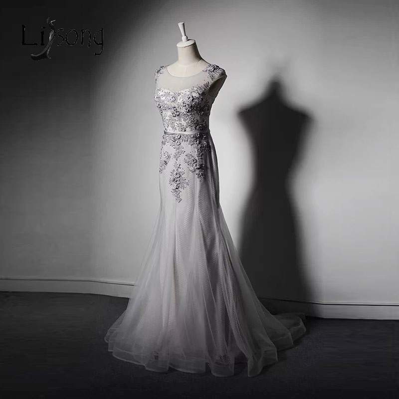 Elegant Tulle Mermaid Mother Of Bride Dresses Woth Delicate Appliques Formal Dress To Wedding Silver Vestido De Madrinha A205