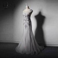 Elegante Sirena de Tulle Madre De Los Vestidos De Novia Woth Delicados Apliques de Plata Vestido Formal Para La Boda Vestido De Madrina A205