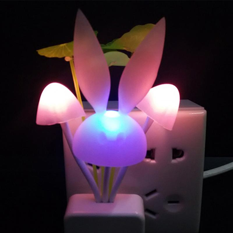Light Control 7 Colors Changing Rabbit Musroom Lamp Plug-in LED Night Light Baby Feeding Nursery Bedside Lamp