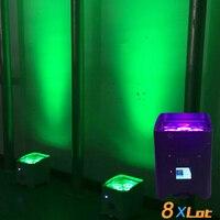 8X LOT Rasha Hex Core APP Mobile 4*18W 6in1 RGABW UV Battery Powered Wireless LED UPLIGHT Fredoom LED Par Light 6/10CH