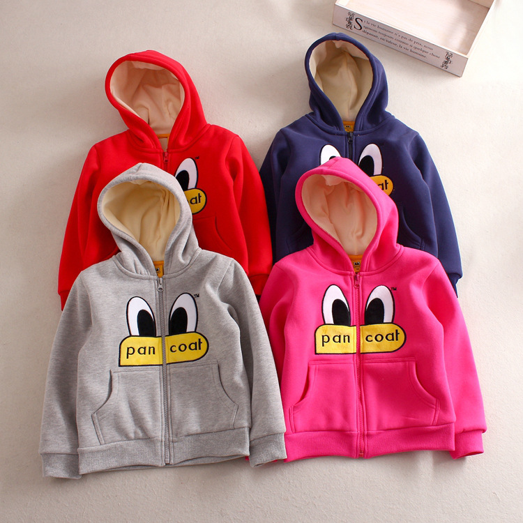 2016 winter childrens zipper hoodies boys and girls clothing plus thick velvet kids coat cartoon Sweatshirts fleece