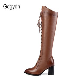 Image 4 - Gdgydh Spring Women Winter Knee High Boots Lacing Black Female Genuine Leather Boots Ladies Square High Heels Rubber Sole Shoes