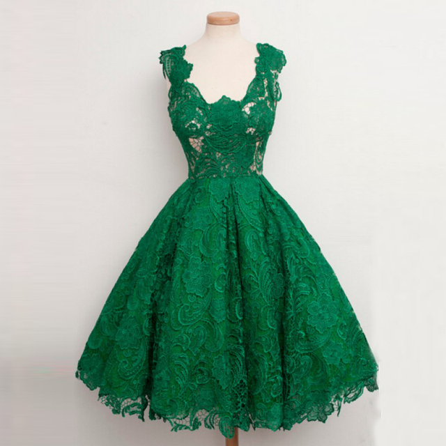 b5b77f5683d Vintage 1950s Emerald Lace Green Prom Dresses Tea Length Ball Gowns Cap  Sleeves Open Back Appliques Evening Party Gowns