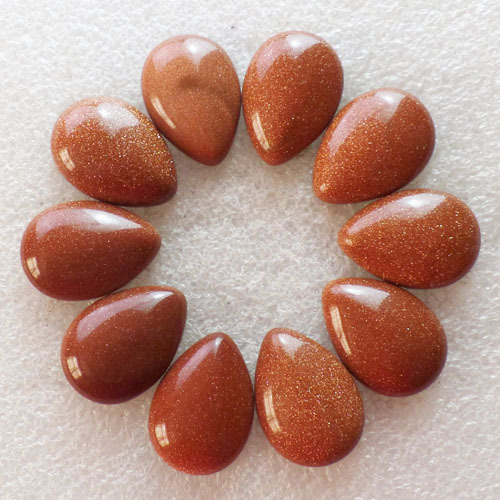 (10 pieces/lot) Wholesale Natural Gold Sand Stone Teardrop CAB Cabochon 25x18x7mm Free Shipping Fashion Jewelry S-80