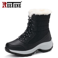 2c2b099e5b3da REETENE Women Boots Lace Up Waterproof Winter Ankle Snow Boots Women  Platform Winter Shoes With Thick. REETENE Kobiety Buty Lace Up Wodoodporna  Zima Kostki ...