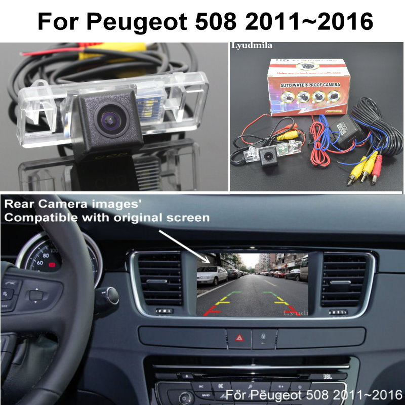 For Peugeot 508 2011~2016 RCA & Original Screen Compatible Adapter Car Rear View Camera Back Up Reverse Camera CCD Night Vision