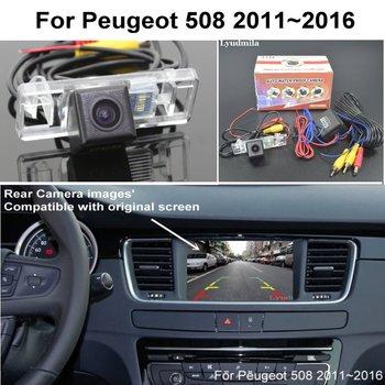 For Peugeot 508 2011~2016 RCA & Original Screen Compatible Adapter Car Rear View Camera Back Up Reverse Camera CCD Night Vision for honda civic fb exi 2011 2016 car back up reverse camera car rear view camera sets rca
