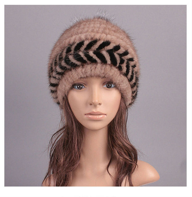 2017 New Luxury Arrows Design Beanie Womens Real Mink Fur Caps with Fox Fur Ball Lady Winter Fashion Hats LX00817