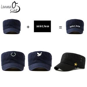 Image 5 - Chapéu do exército do vintage do algodão de lanmaocat chapéu do exército dos homens das mulheres personalizado chapéu superior liso boné de beisebol personalizado bonés do exército frete grátis
