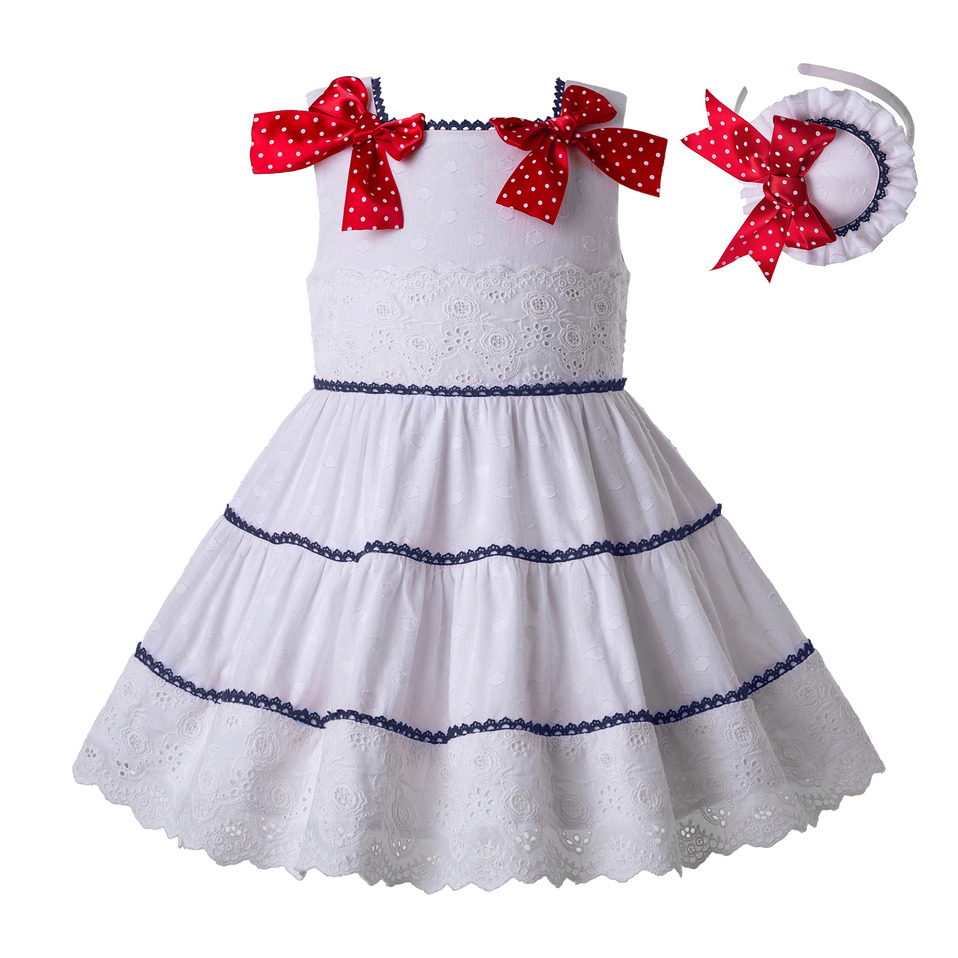 Pettigirl Newest White Dress Girl with Red Dot Bows Kids Girls Dress with Navy Lace Child
