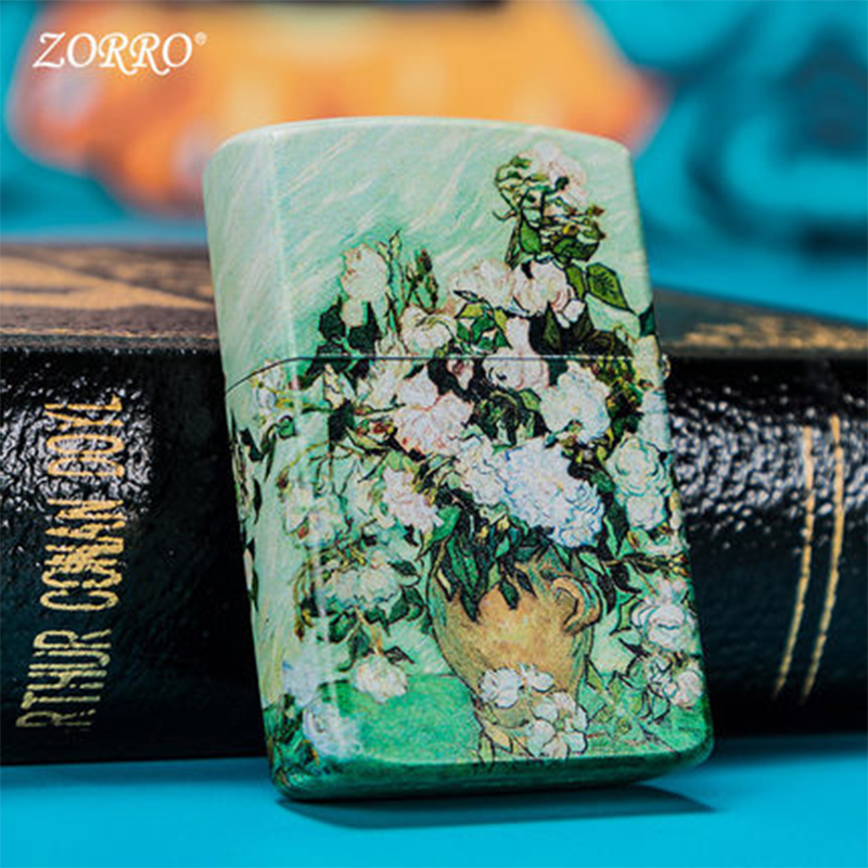 Zorro kerosene lighter windproof Van Gogh apricot sunflower Rose Iris personality creative painting lighter Hot style lighter in Lighters from Home Garden
