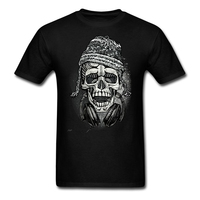 Man Music Theme Customized T Shirt With Snowboarder Skull With Headphones And Beanie Men Tees Discount