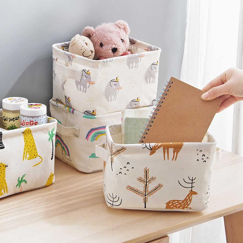 New folding Tecido de algodão cesta de armazenamento de artigos diversos de caixa de armazenamento de Escritório organizadores de maquiagem Brinquedo Cueca caixas de armazenamento Recipiente