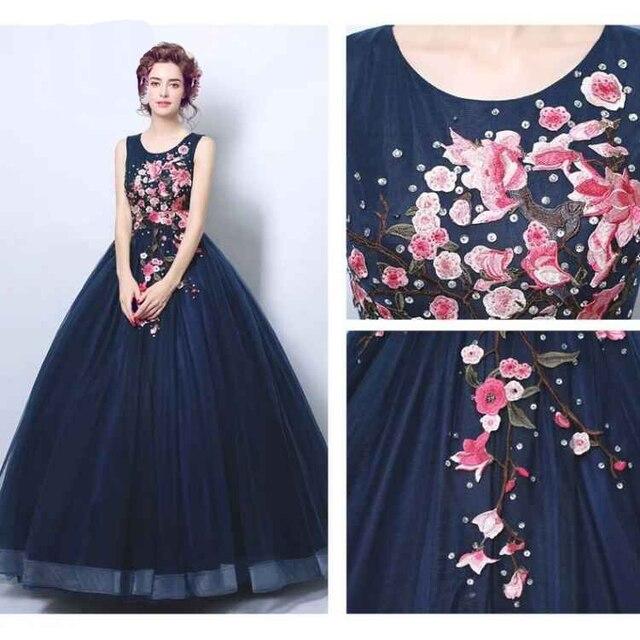 a5ae910c0 Hote sale Sexy O-Neck Floor length Applique Elastic net White Wedding gown  Navy Blue wedding dresses
