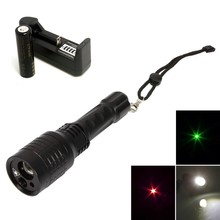 Big discount 5mW Green Laser Pointer + Red Laser Pointer + 1600LM White Light LED 4 Mode Magnetic focus led flashlight torch light 08-3