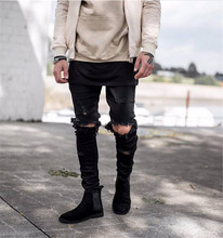 Males Skinny Denims 2015 Runway Destroyed Denim Biker denims Hip Hop Pants Washed Black Denims