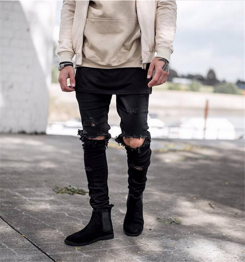 ФОТО Men Skinny Jeans 2015 Runway Destroyed Denim Biker jeans Hip Hop Pants Washed Black Jeans
