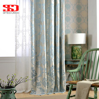 Fabric Jacquard Blackout Luxury Curtains For Living Room Blinds Blue European Damask Drapes For Bedroom Window