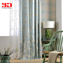 Fabric European Blackout Curtains For Living Room Jacquard Damask Blue Luxury Drapes For Bedroom Kitchen Blinds