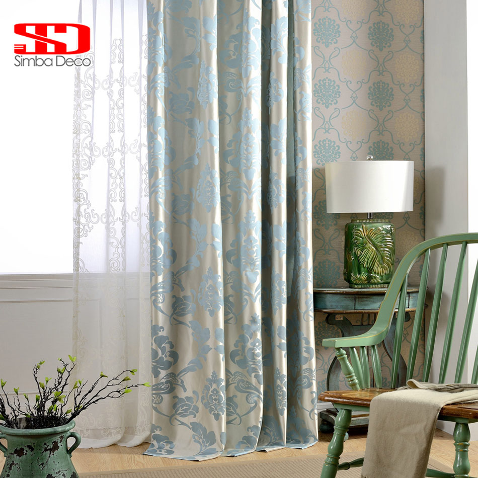 Fabric European Blackout Curtains For Living Room Jacquard Damask Blue Luxury Drapes For Bedroom Kitchen Blinds Window Panel