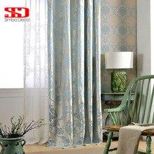 Fabric European Blackout font b Curtains b font For Living Room Jacquard Damask Blue Luxury Drapes