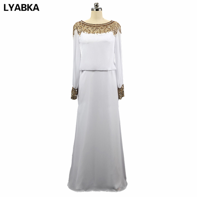 33994aa43f8 Evening Dress Kaftan A-line Long Sleeve Evening Dresses African Scoop Neck  Chiffon White And Gold Prom Dress 2019 Robe De Soiree
