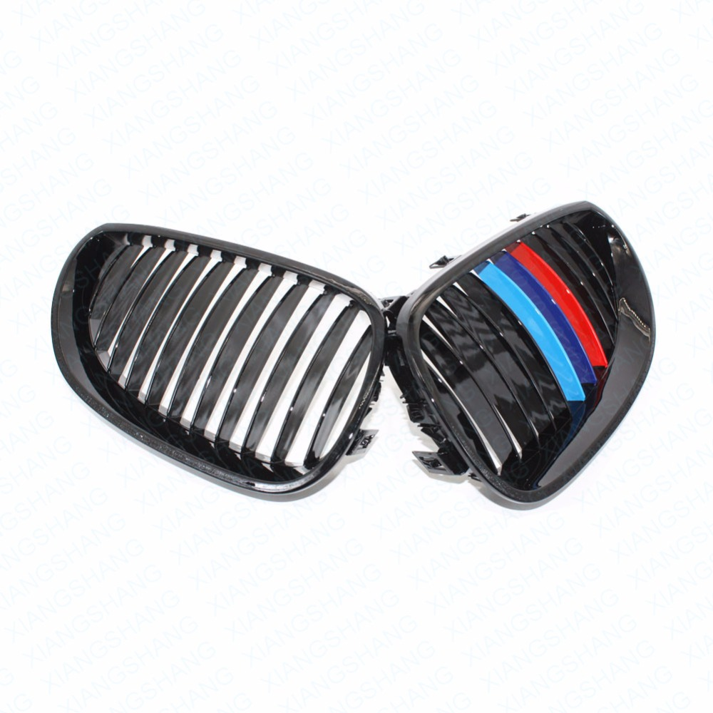 ФОТО 2x Car Style Radiator Racing Grills Gloss Black M-color Front Racing Kidney Grilles for BMW E60 E61 540i 530i 528i M5 2004-2010