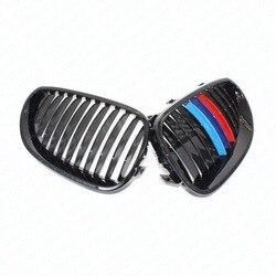 2x samochodów styl chłodnicy Racing grille połysk czarny M kolor przód Racing nerek kraty dla BMW E60 E61 540i 530i 528i M5 2004-2010